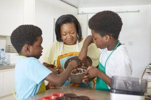 Making cupcakes in the kitchen with your foster child